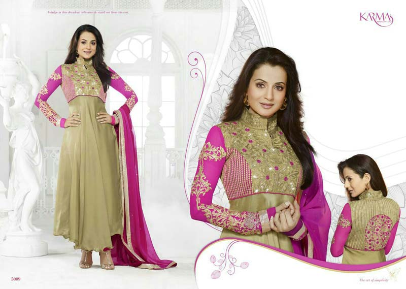 Karma   Back By Popular Demand   Exclusive Designer Semi Stitched Long  Straight Suits
