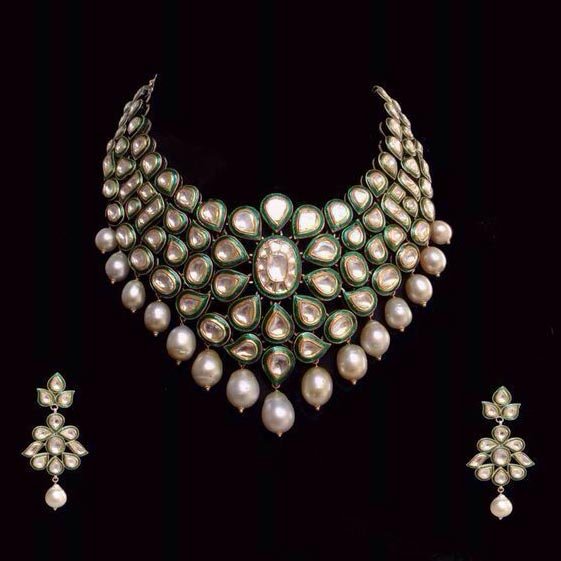 Antique Gold N Jadtar Set: Gold Jadtar Jewellery Manufacturer In Rajkot Gujarat India