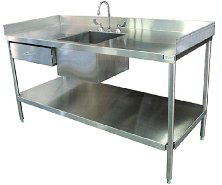 Stainless Steel Laboratory Round Legs Sink Table