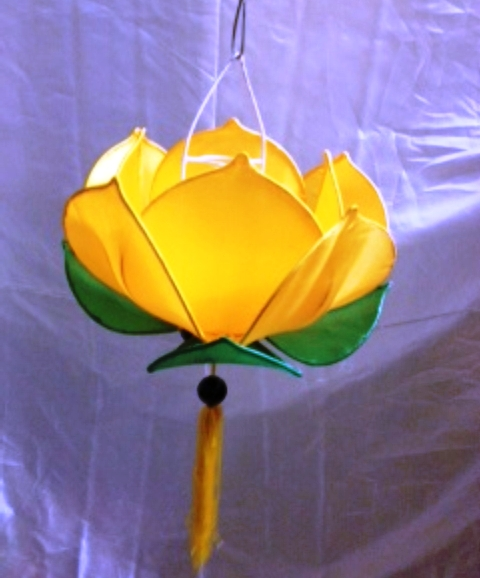 Silk Lotus Lamp Yellow Colour Manufacturer Exporters From Viet