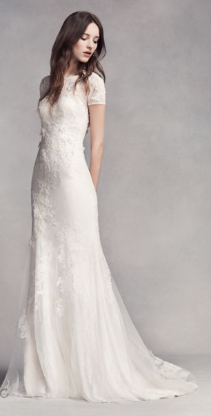 Buy White By Vera Wang Short Sleeve Lace Wedding Dress From Bridal