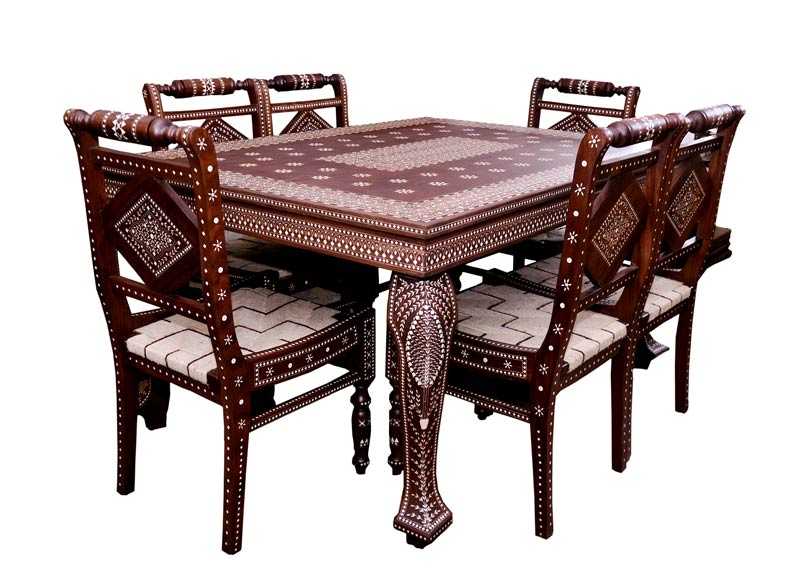 buy dining table inlaid work from ganga ram tulsi ram hoshiarpur india id 625558. Black Bedroom Furniture Sets. Home Design Ideas