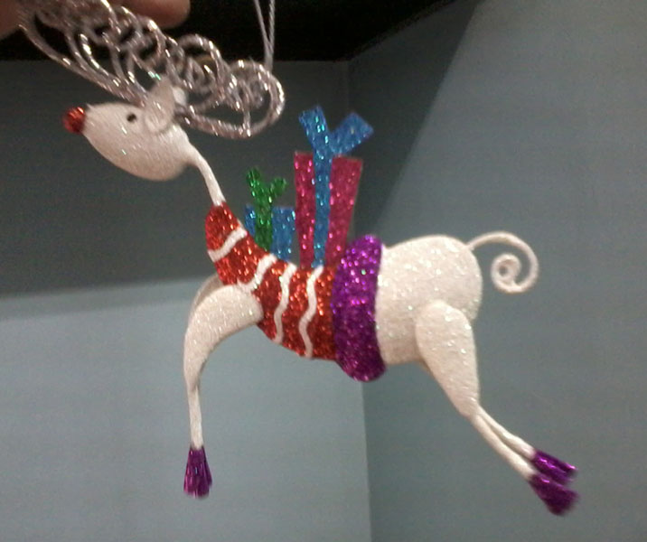 Striped Reindeer with Gift Box Ornament (AE-003-14)
