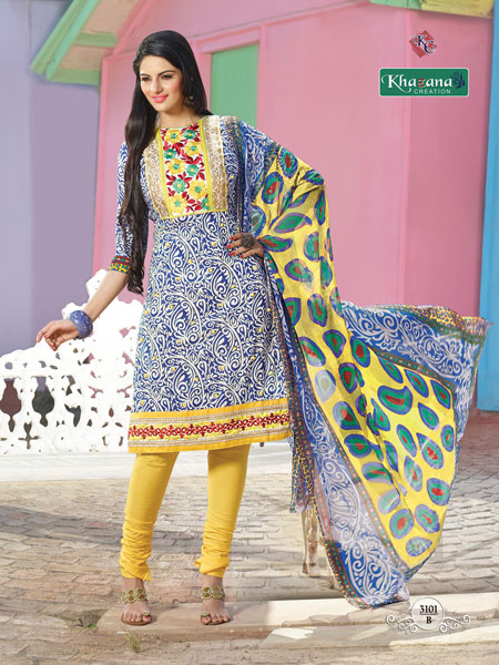 a6c9f0c3bd Buy Pure Cotton Printed Designer Salwar Suits from Khazana Creation ...