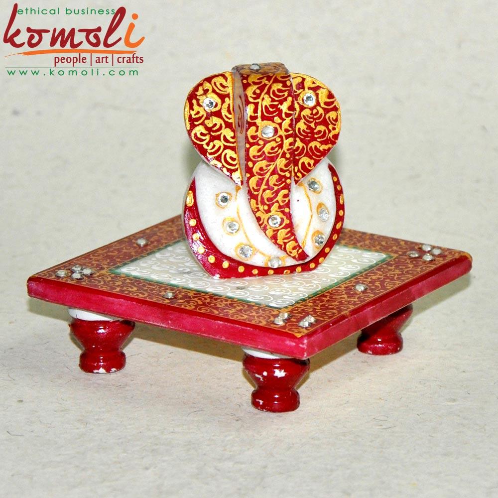 Vibrant Red Ganesha Chowki (Komoli-1033-RD)