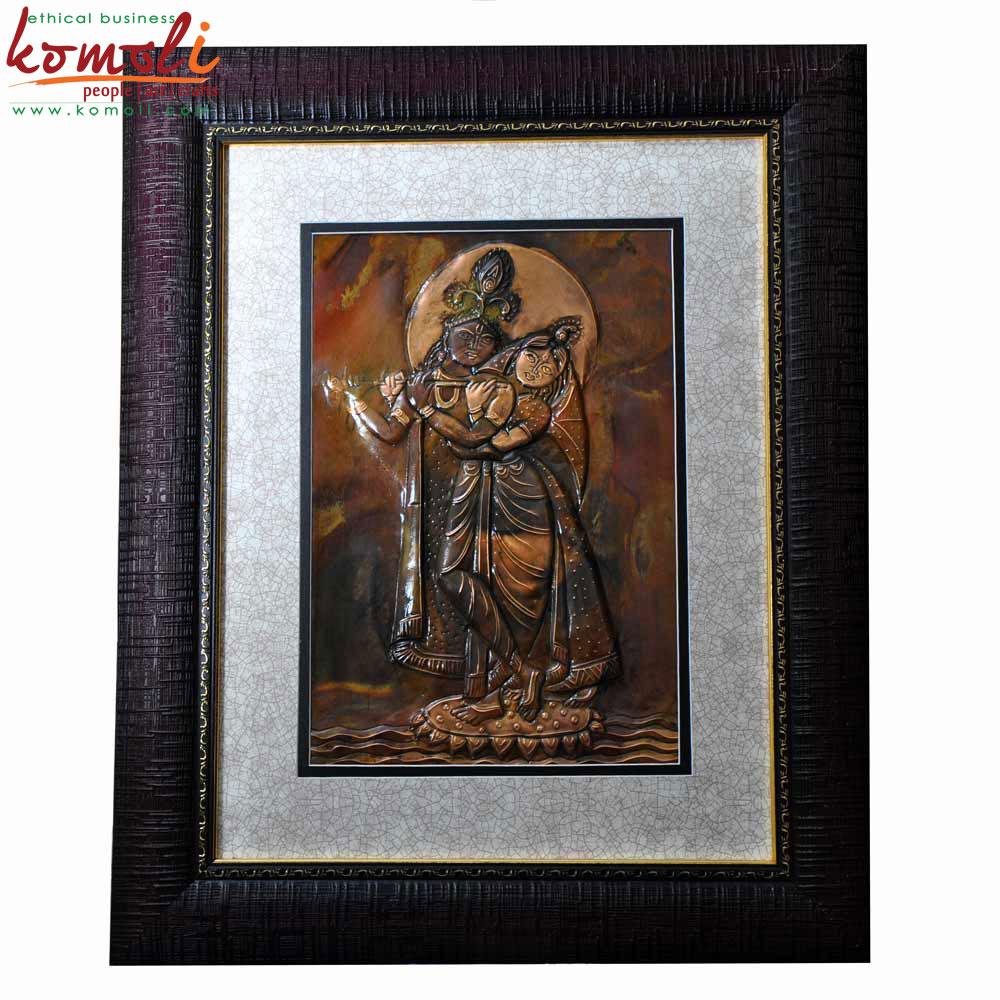 Copper Sheet Radha Krishna Wall Hanging (Komoli-15008-BR)
