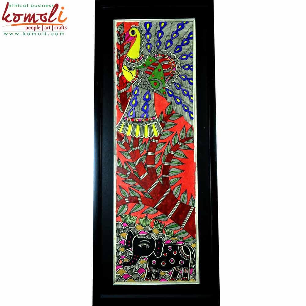Framed Peacock Madhubani Painting (Komoli-42014-ML)