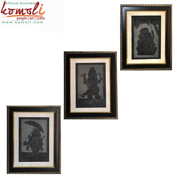 Ganesha Set of 3 Slate Arts (16009-BL)