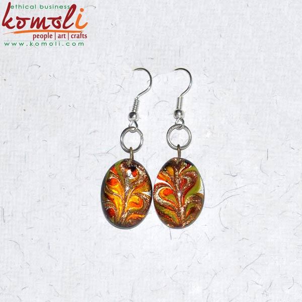 Glass Flamework Earrings (Komoli-12046-ML)