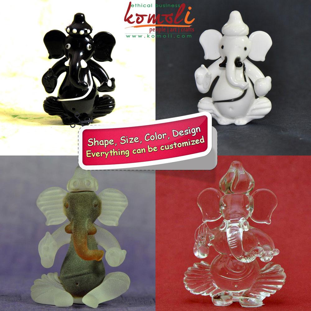 Handmade Glass Ganesha - Black  and White