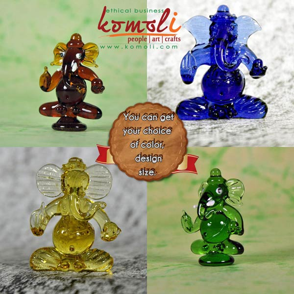 Handmade Glass Ganesha - Multiple Colors