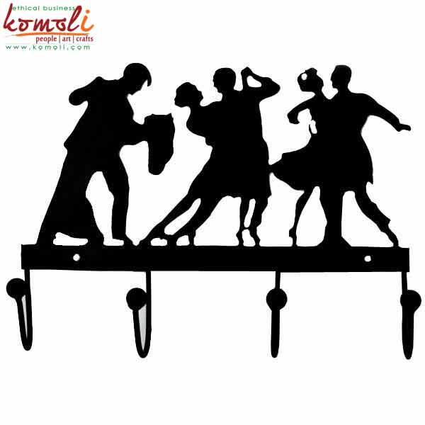 Iron Key Hanger dancing Couple (Komoli-19006-BL)