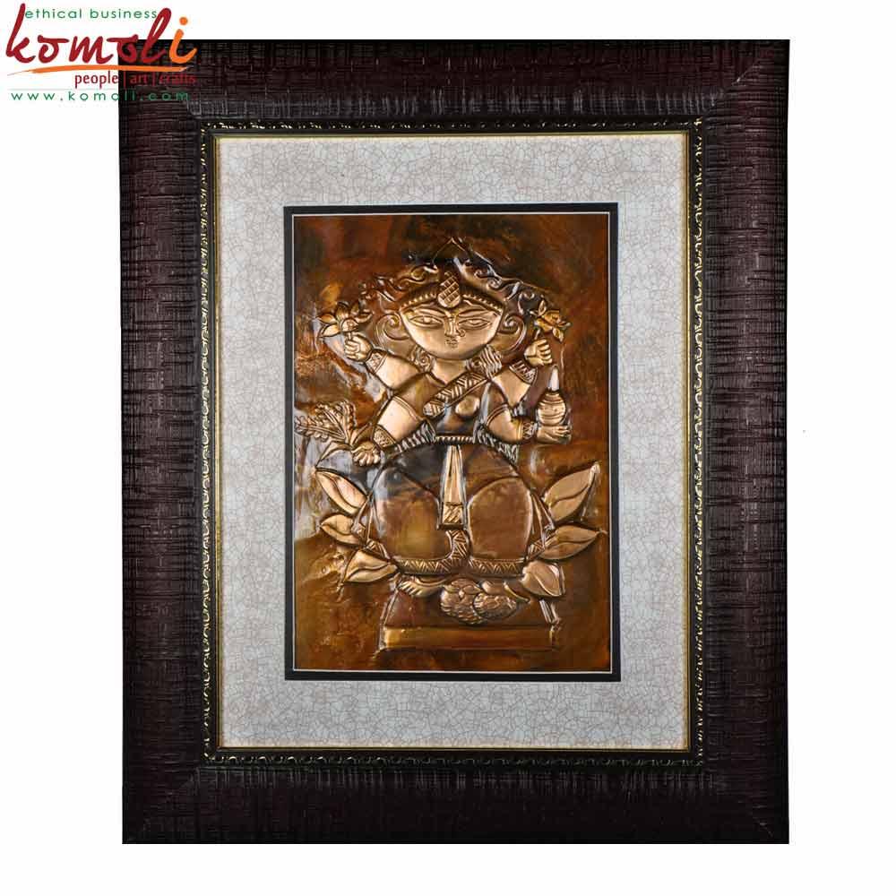 Laxmi Copper Repousse Wall Hanging (Komoli-15005-BR)