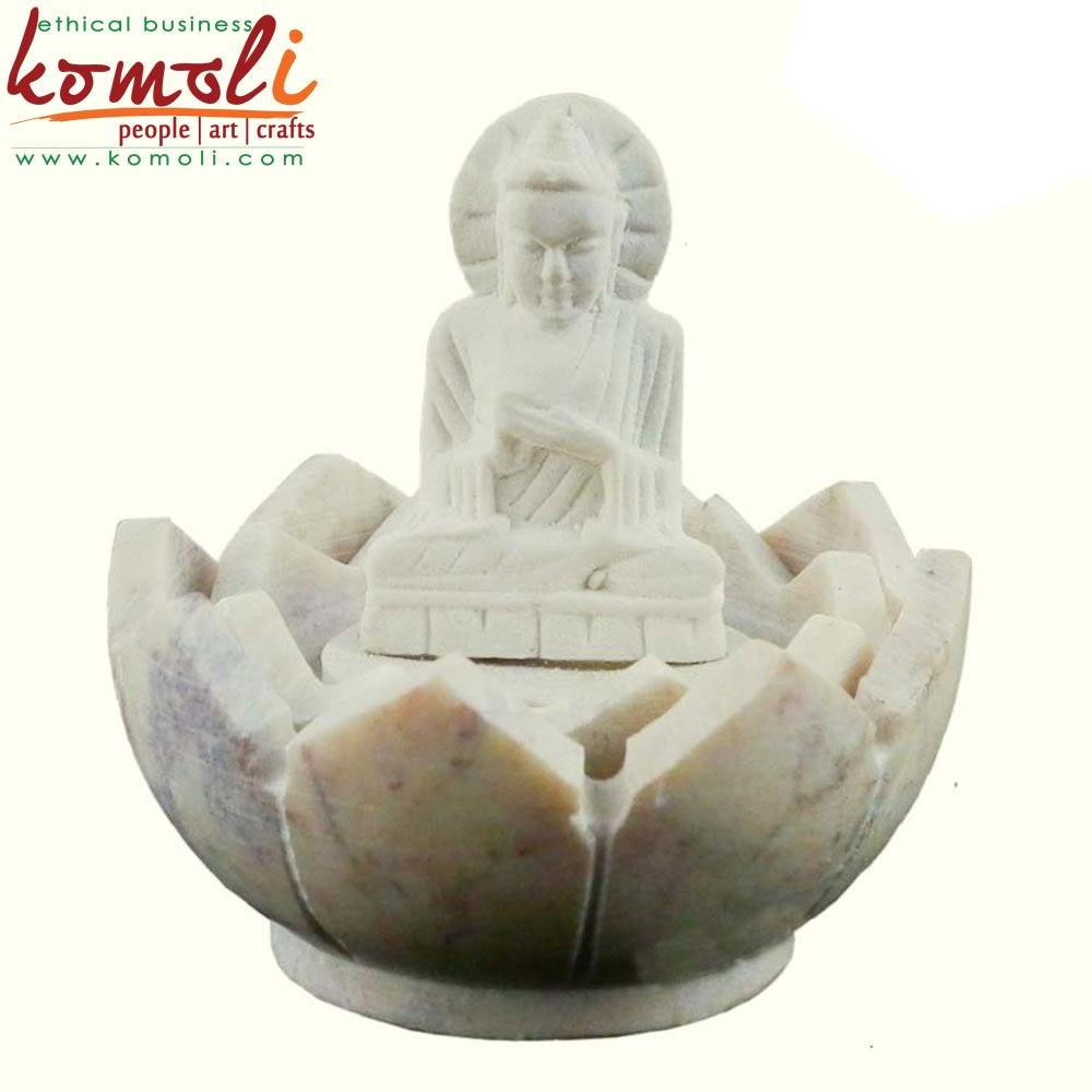 Lotus Buddha Stone (Komoli-1001-WH)