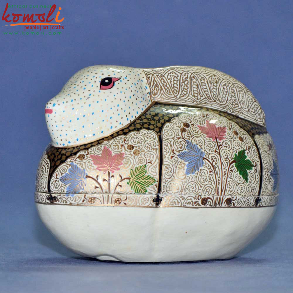 Rabbit Paper Mache Keepsake Box (Komoli-23002-CM)