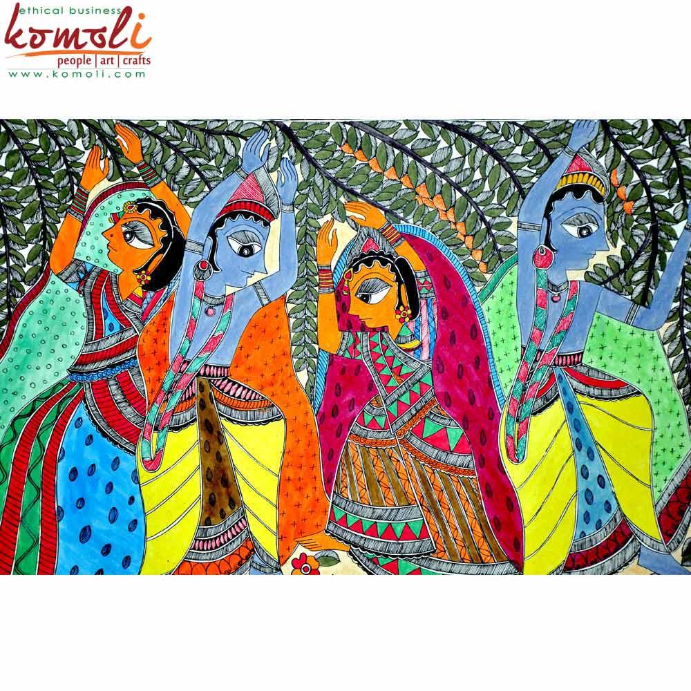 Radha Krishna Madhubani Painting (Komoli-42006-ML)