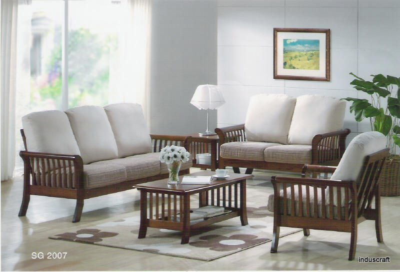 Buy living room wooden sofa set from induscraft india for Latest chairs for living room
