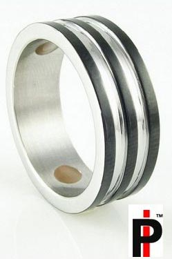 Mens Silver Rings (Silver Black Ring)