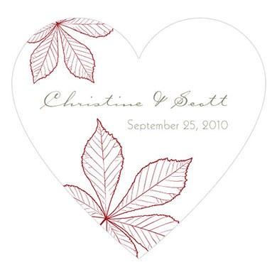 Autumn Leaf Heart Sticker