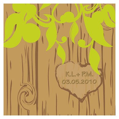 Carved Initials Tree Square Tag