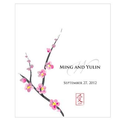 Cherry Blossom Rectangular Label