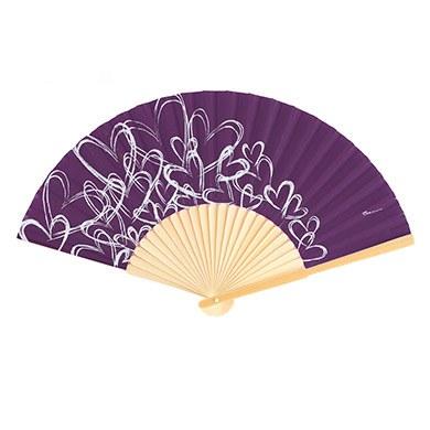 Contemporary Hearts Fan - Purple