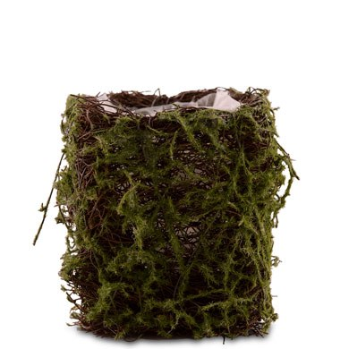 Faux Moss And Wicker Mini Favor Planter