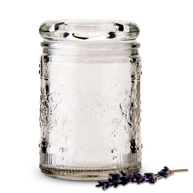 Floral Pressed Glass Mason Jar Favor