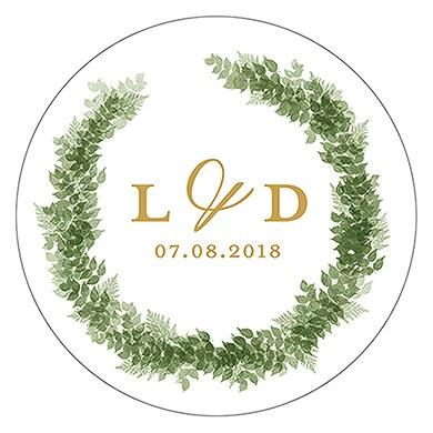 Love Wreath Small Sticker - Monogram