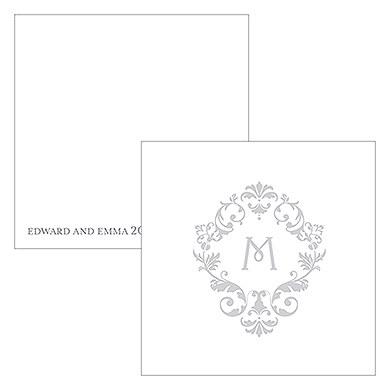 Monogram Simplicity Square Favor Tag - Classic Filigree