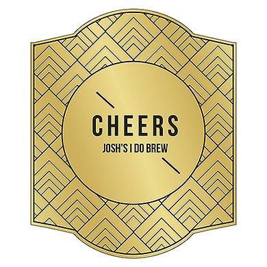 Gold Metallic Foil Personalized Beer Bottle Label