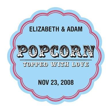 Popcorn Topped Love Wedding Favor Sticker