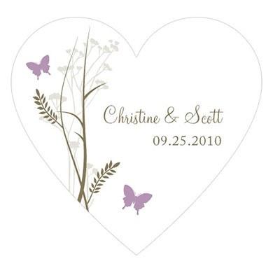Romantic Butterfly Heart Sticker
