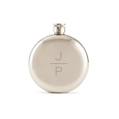 Round Silver Hip Flask