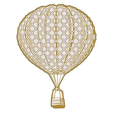 Vintage Travel Round Hot Air Balloon Diecut Sticker