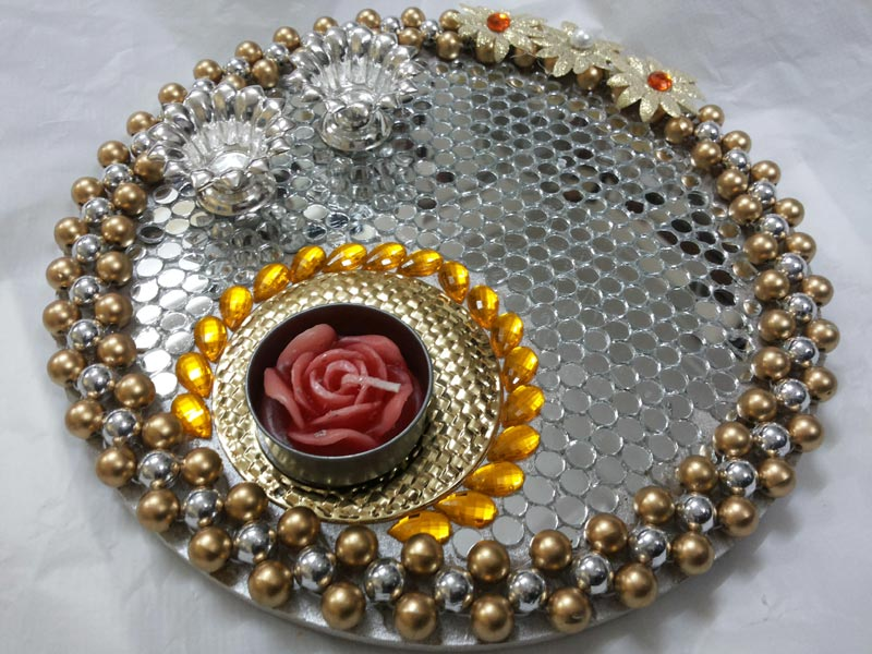Pooja thali manufacturer in mumbai maharashtra india by for Aarti thali decoration designs