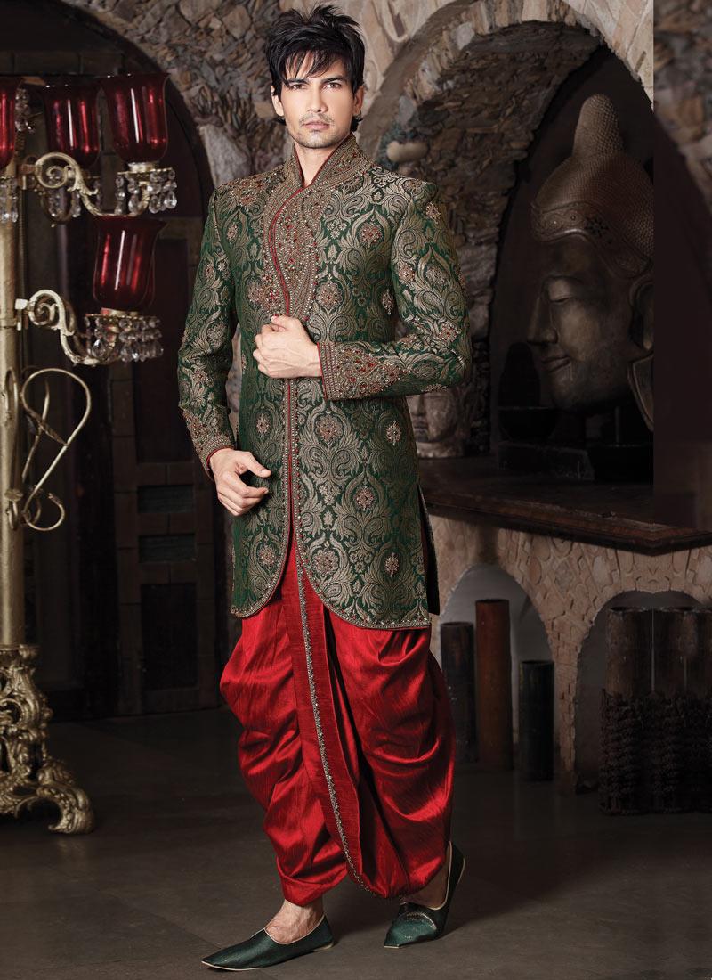 Buy Wedding Sherwani With Dhoti From Prince Fashion India