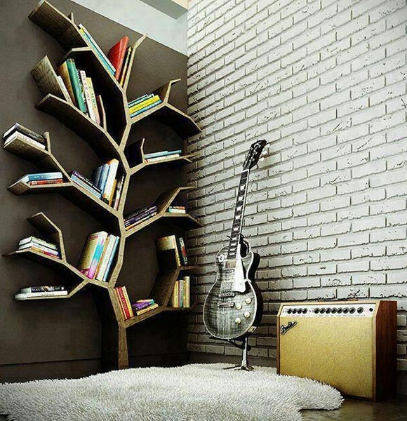 Wall Mounted Tree Bookshelf