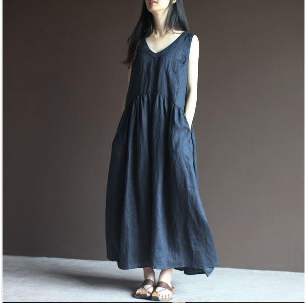 a51f355048a Buy Blue Linen Regula Wear Women Dress from Gopche Lifestyle Pvt Ltd ...