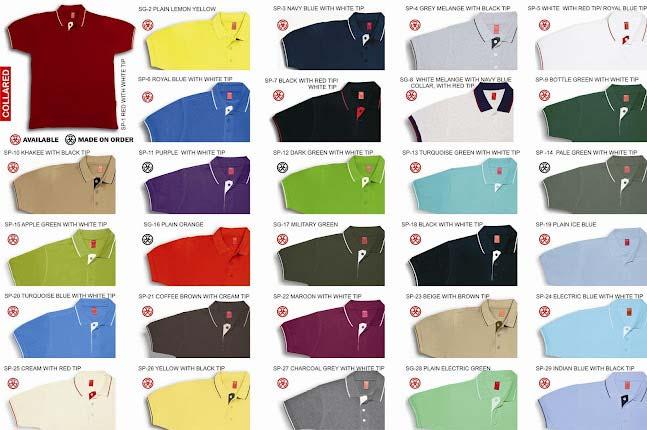T-Shirt Shade Cards