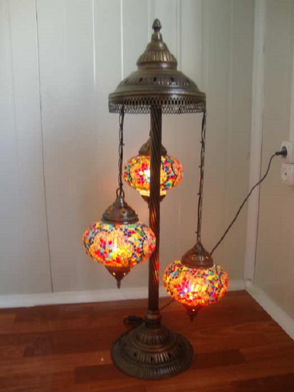 Turkish Handmade 3 Ball Mosaic Lamp, Turkish Mosaic Chandelier India