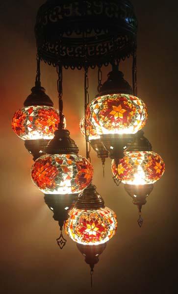 Buy Turkish Handmade Orange 7 Ball Mosaic Chandelier From