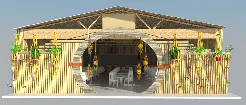 Services bamboo restaurant design from