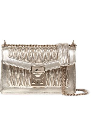 Metallic Quilted Leather Shoulder Bag