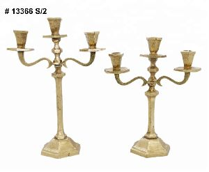 Golden Three Arm Candelabra