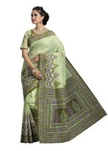 Green Cotton Printed Fancy Saree