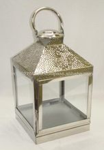 Metal Steel Lanterns Hammered Design Pillar Candle Holder