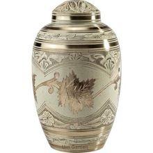 Cream Wash Brass Metal Cremation Urn