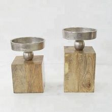 Metal Wood Candle Holder Set