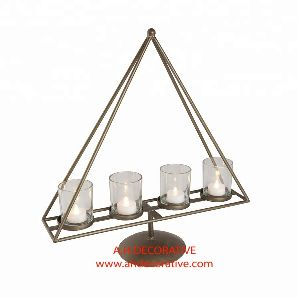 Metal Triangle Shape T Light Candle Holder